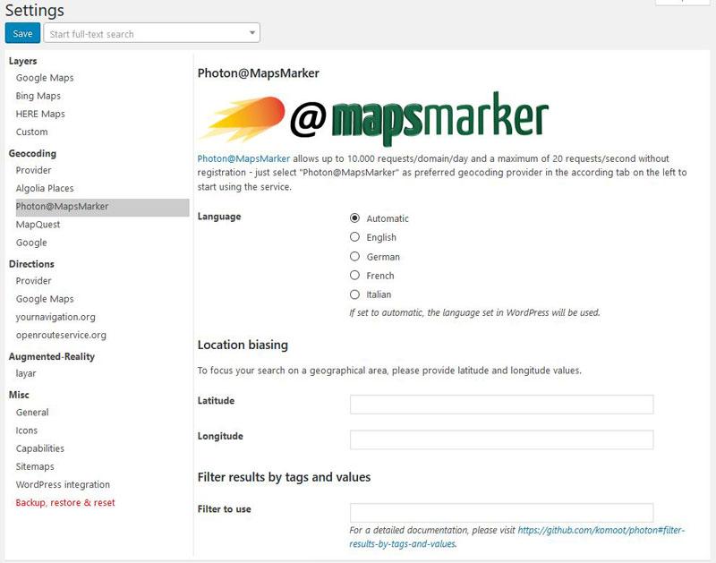 How to setup Photon@Mapsmarker geocoding » Maps Marker Pro