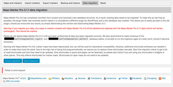 """Error """"Failed to send request"""" when trying to migrate to v4 » Maps"""